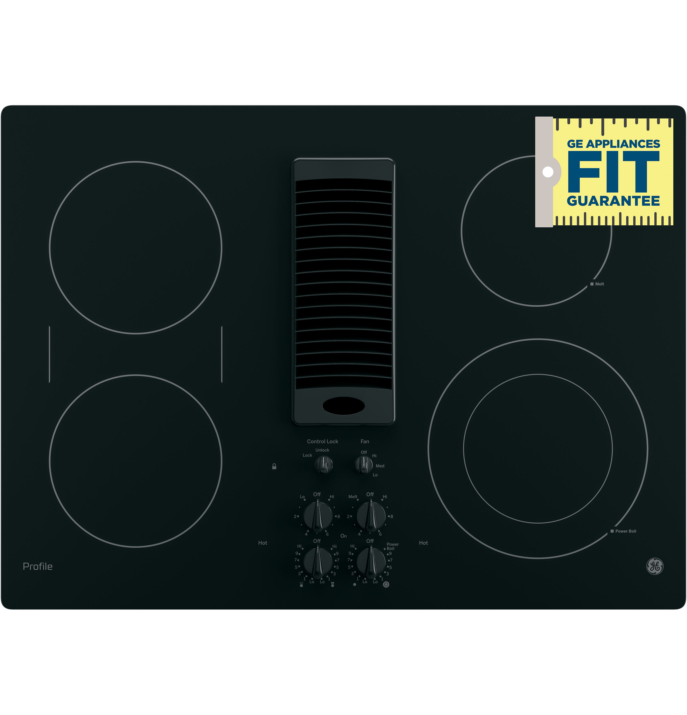 9/6 Inch Power Boil Bridge Element and 3-Speed Downdraft Exhaust System GE PP9830TJWW 30 Inch Smoothtop Electric Cooktop with 4 Burners