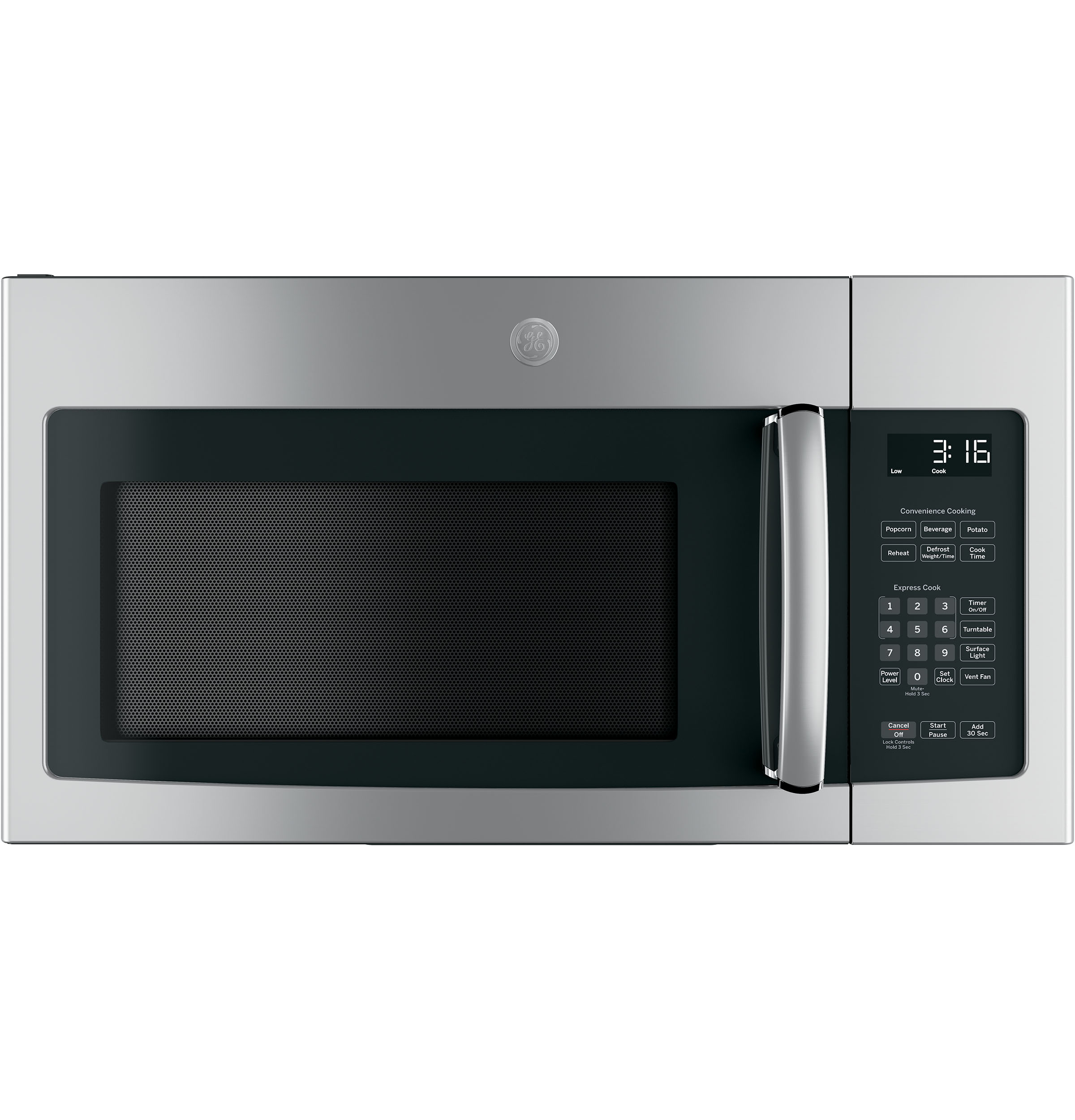Ge 16 cu ft over the range microwave oven with recirculating product image sciox Choice Image