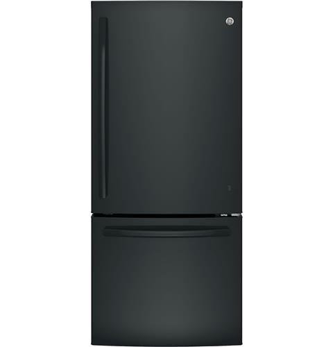 GE® ENERGY STAR® 21.0 Cu. Ft. Bottom Freezer Refrigerator– Model #: GBE21DGKBB