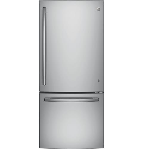 GE® ENERGY STAR® 21.0 Cu. Ft. Bottom Freezer Refrigerator– Model #: GBE21DSKSS