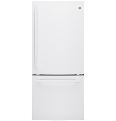 GE® ENERGY STAR® 21.0 Cu. Ft. Bottom Freezer Refrigerator– Model #: GBE21DGKWW