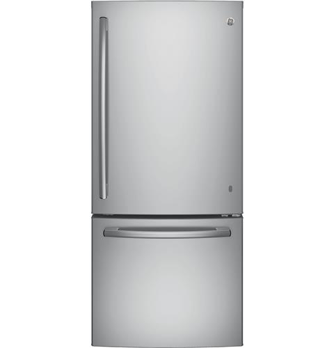 GE® ENERGY STAR® 20.9 Cu. Ft. Bottom Freezer Refrigerator– Model #: GDE21ESKSS