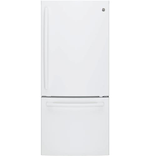 GE® ENERGY STAR® 20.9 Cu. Ft. Bottom Freezer Refrigerator– Model #: GDE21EGKWW