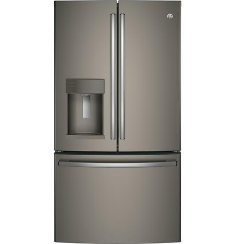 GE® Series ENERGY STAR® 22.2 Cu. Ft. Counter-Depth French-Door Refrigerator– Model #: GYE22HMKES