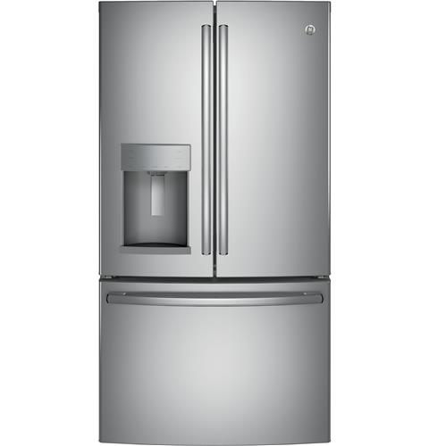 GE® ENERGY STAR® 22.2 Cu. Ft. Counter-Depth French-Door Refrigerator– Model #: GYE22HSKSS
