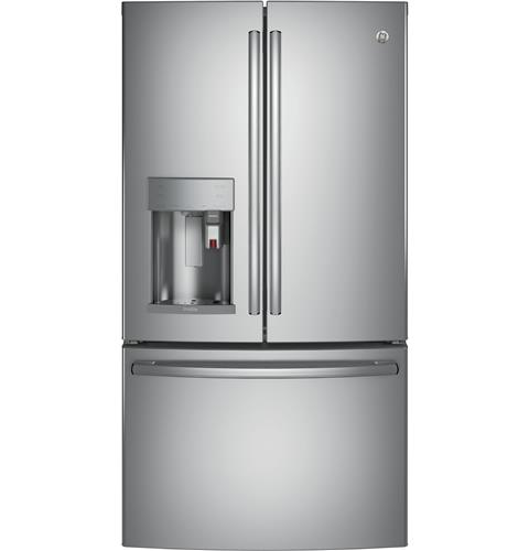 GE Profile™ Series ENERGY STAR® 22.2 Cu. Ft. Counter-Depth French-Door Refrigerator with Keurig® K-Cup® Brewing System– Model #: PYE22PSKSS