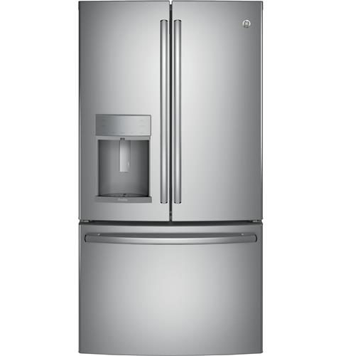GE Profile™ Series ENERGY STAR® 22.2 Cu. Ft. Counter-Depth French-Door Refrigerator with Hands-Free AutoFill– Model #: PYE22KSKSS