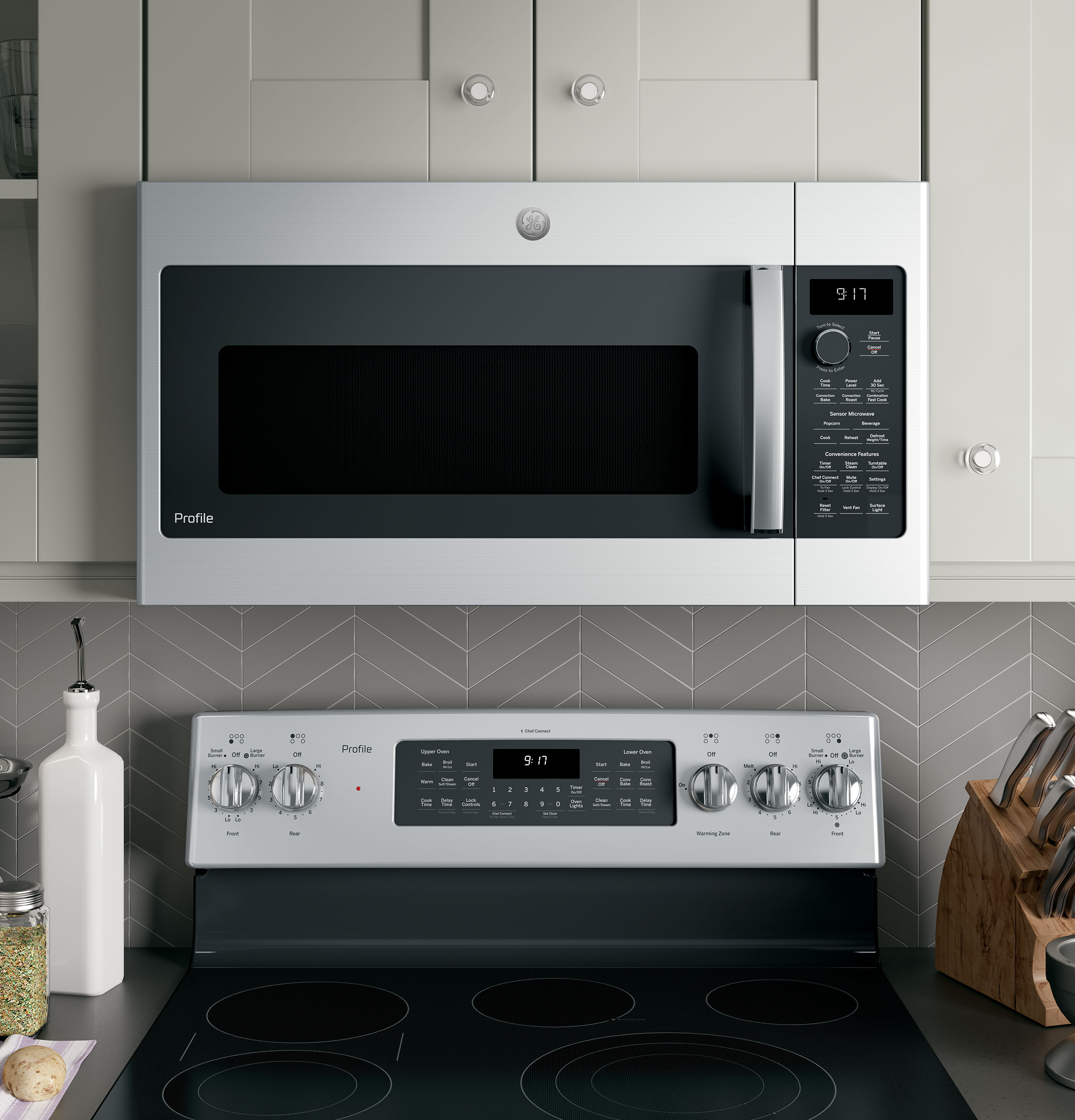 GE Profile™ 1 7 Cu  Ft  Convection Over-the-Range Microwave