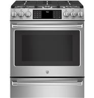 "GE Café™ Series 30"" Slide-In Front Control Range with Warming Drawer"
