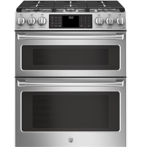 Ge Café Series 30 Slide In Front Control Gas Double Oven With Convection Range