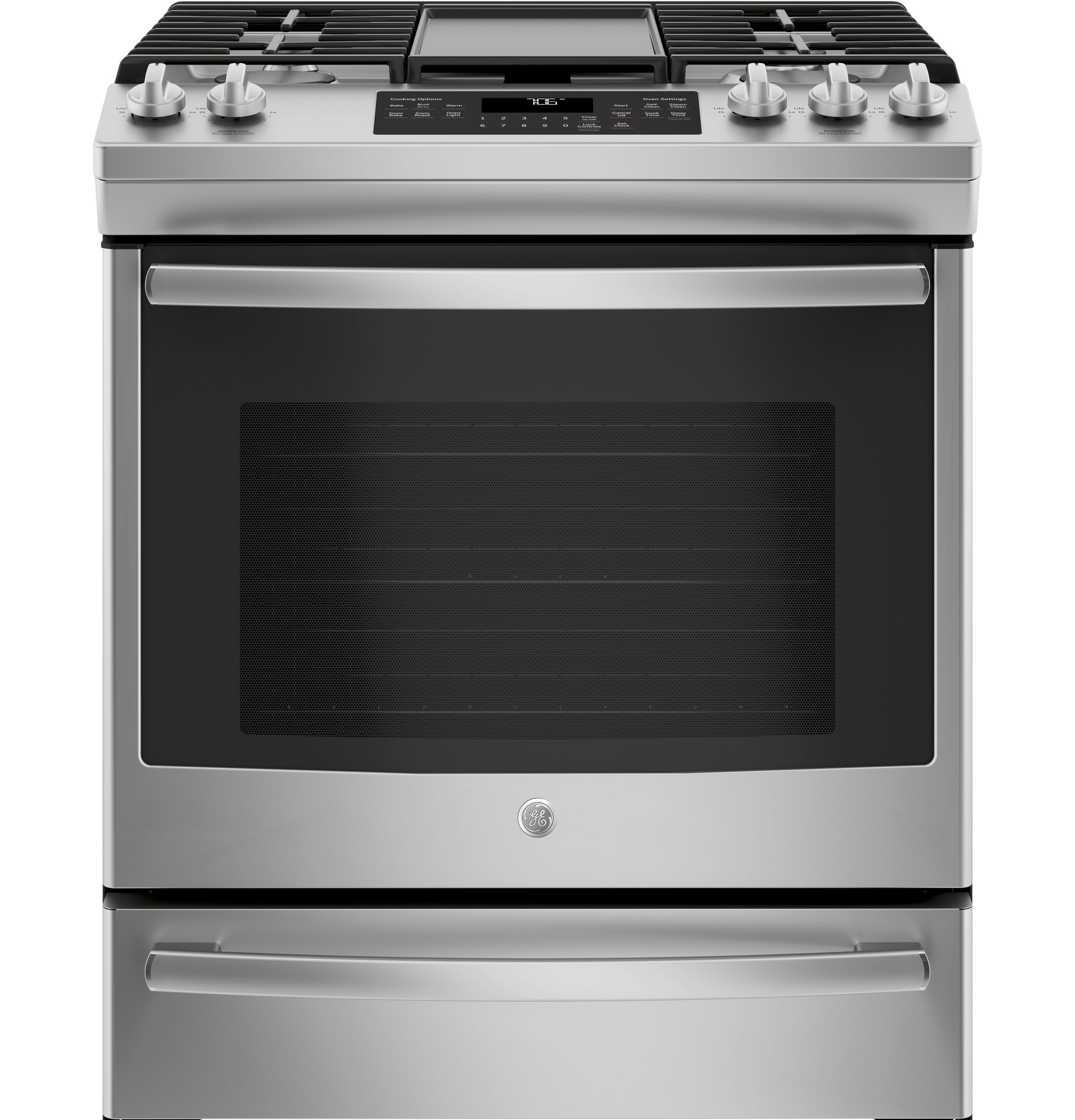 "Ge® 30"" slide-in front control convection gas range 