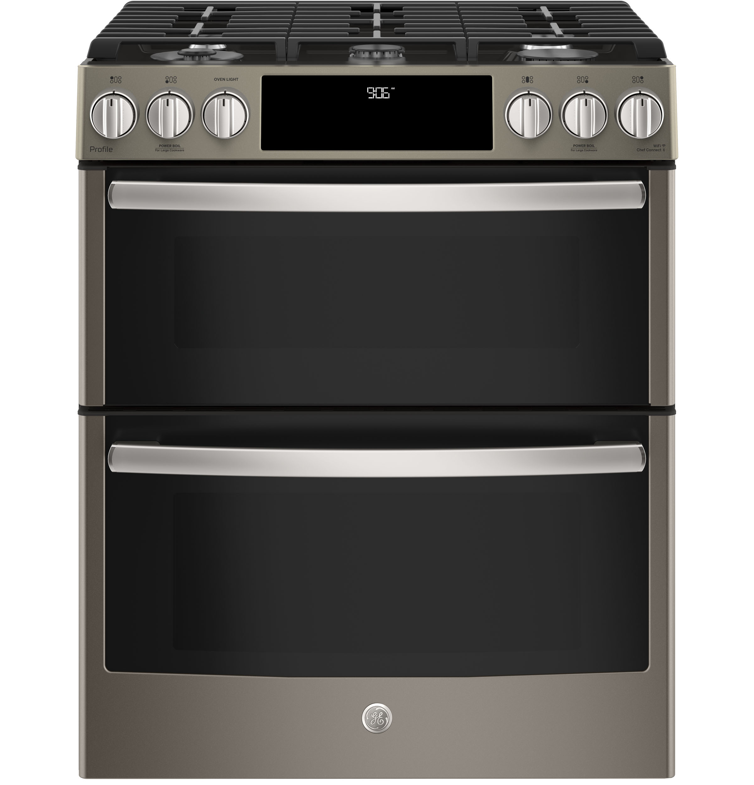 ge profile series 30 slide in front control gas double oven convection range pgs960eeles. Black Bedroom Furniture Sets. Home Design Ideas
