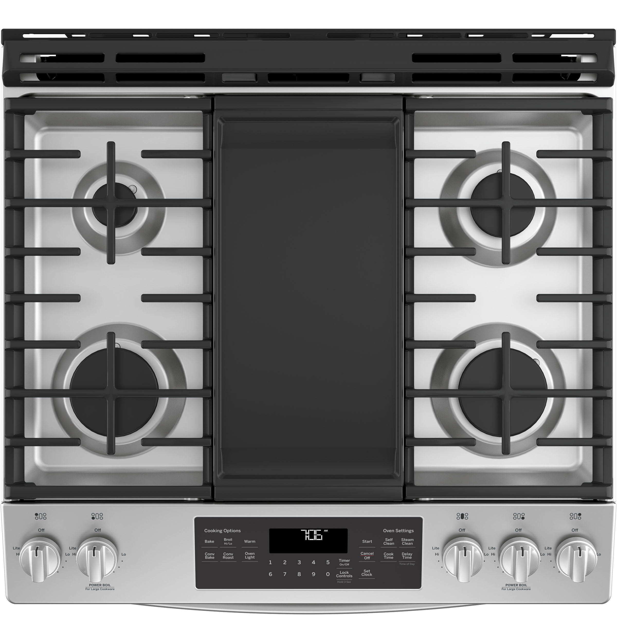 """Ge® 30"""" slide-in front-control convection gas range   jgs760selss."""