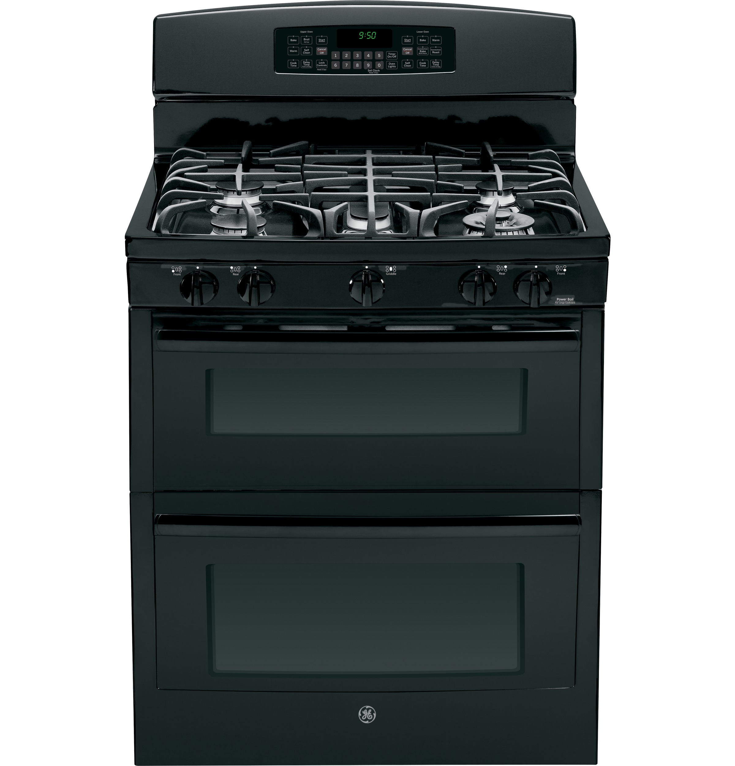 ge profile series 30 free standing gas double oven with convection range pgb950defbb ge. Black Bedroom Furniture Sets. Home Design Ideas