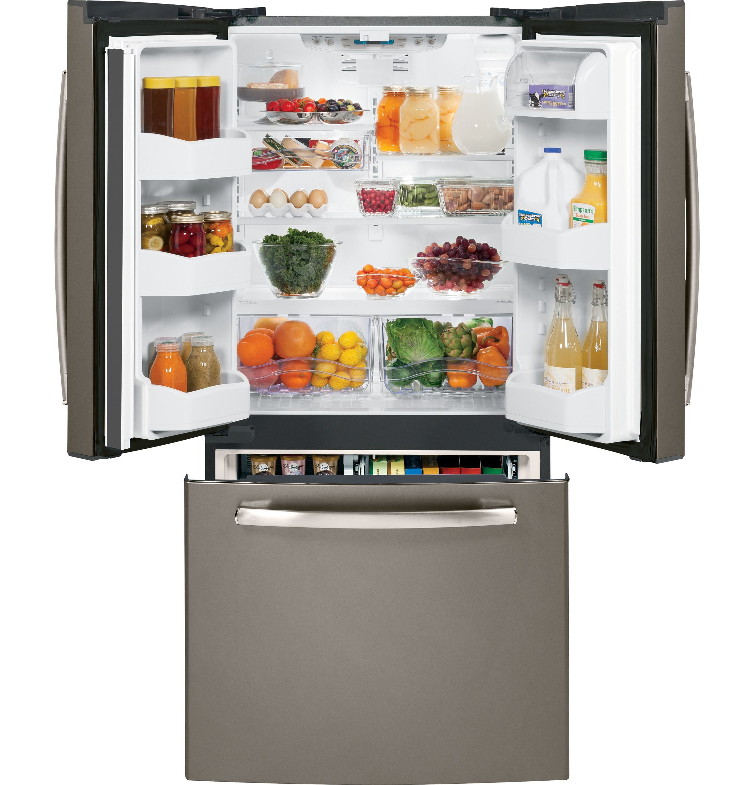 Free Picture Indoors Contemporary Stove Refrigerator: GE® 22.7 Cu. Ft. French-Door Refrigerator