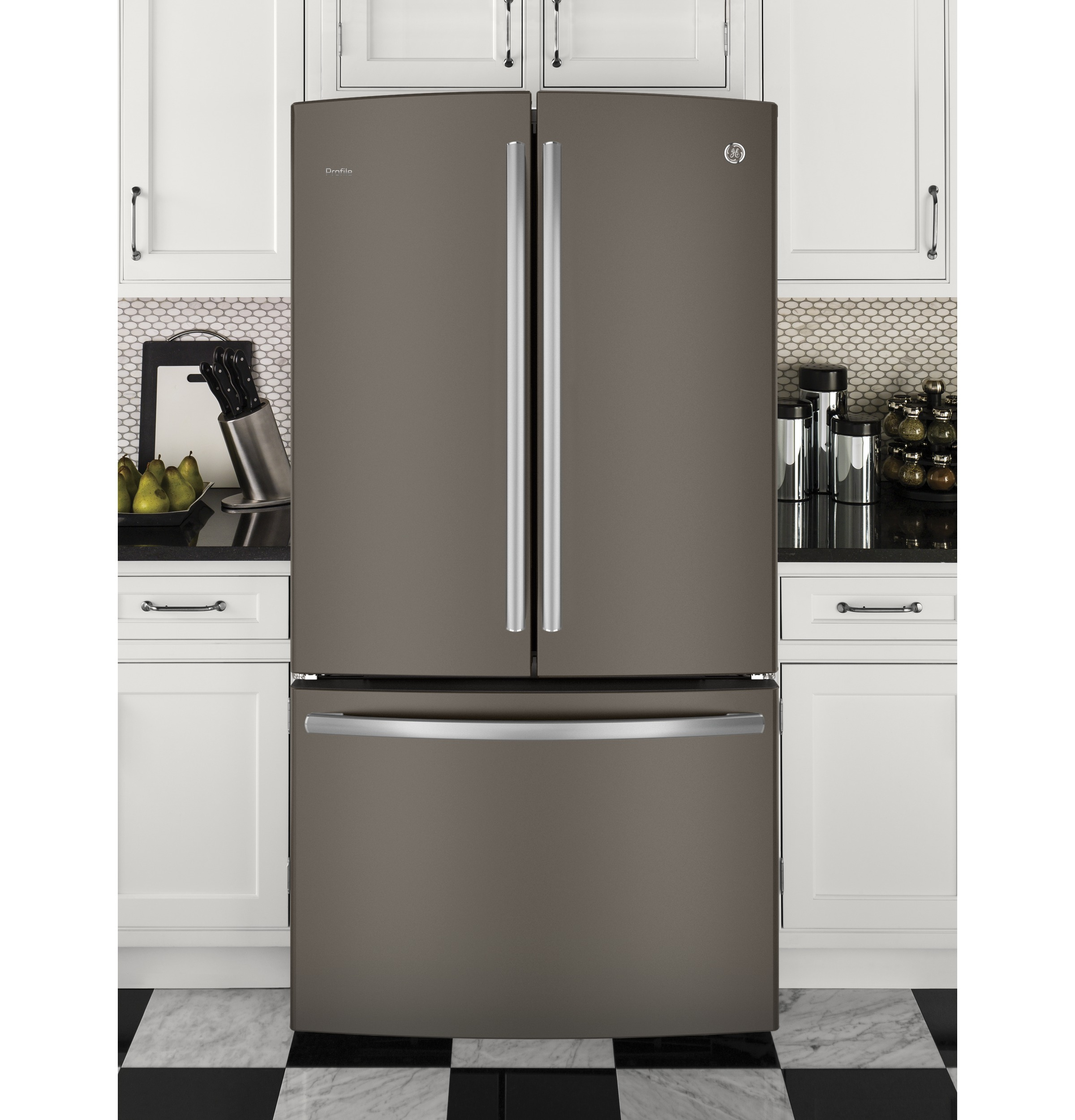 Design Ge Slate Refrigerator ge series energy 23 1 cu ft counter depth french product image