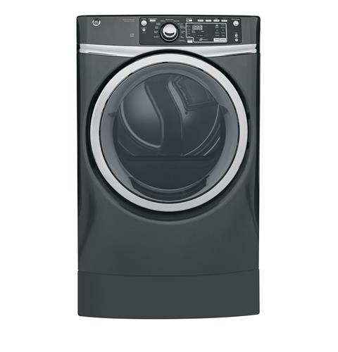 GE® 8.3 cu. ft. capacity RightHeight™ Design Front Load gas ENERGY STAR® dryer with steam– Model #: GFD49GRPKDG