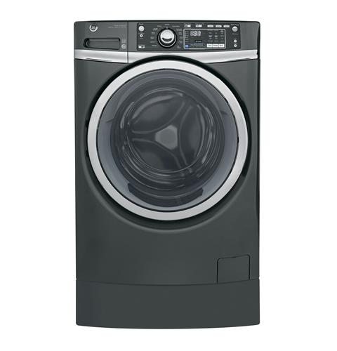 GE® 4.9 DOE cu. ft. Capacity RightHeight™ Front Load ENERGY STAR® Washer with Steam– Model #: GFW490RPKDG