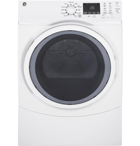 GE® 7.5 cu. ft. Capacity Front Load Electric Dryer with Steam– Model #: GFD45ESSMWW