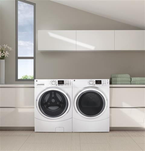 GE® 7 5 cu  ft  Capacity Front Load Gas Dryer with Steam