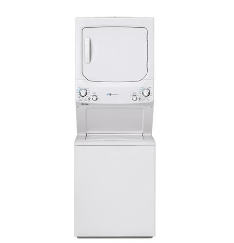 GE Unitized Spacemaker® ENERGY STAR® 3.9 cu. ft. Capacity Washer with Stainless Steel Basket and 5.9 cu. ft. Capacity Gas Dryer– Model #: GUD27GESNWW